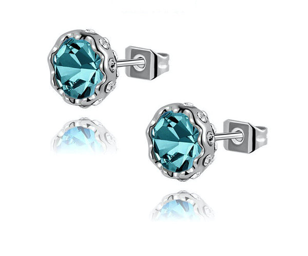 Platinum Plated Penelope Earrings with Simulated Diamond