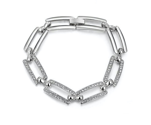 Platinum Plated Peyton Bracelet with Simulated Diamond