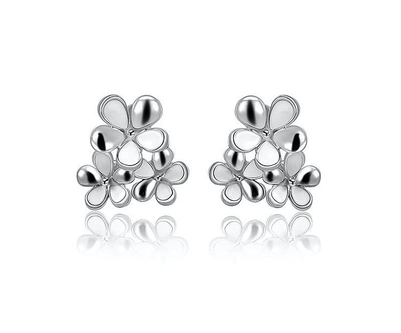 Platinum Plated Princess Earrings with Simulated Diamond