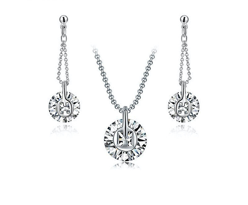 Platinum Plated Raelyn Necklace and Earrings Set with Simulated Diamond
