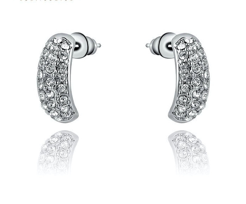 Platinum Plated Rebecca Earrings with Simulated Diamond