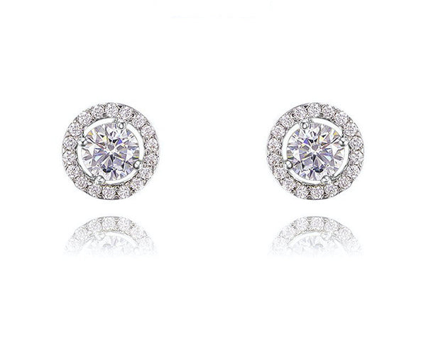 Platinum Plated Rylee Earrings with Simulated Diamond