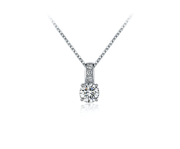 Platinum Plated Rylee Necklace with Simulated Diamond