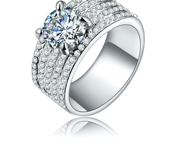 Platinum Plated Rylie Ring with Simulated Diamond