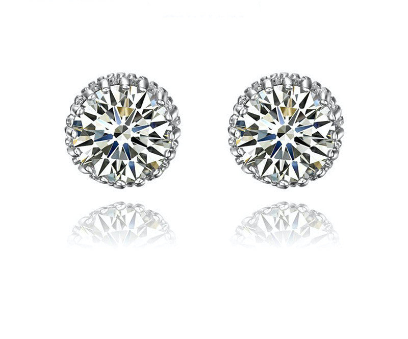 Platinum Plated Samantha Earrings with Simulated Diamond