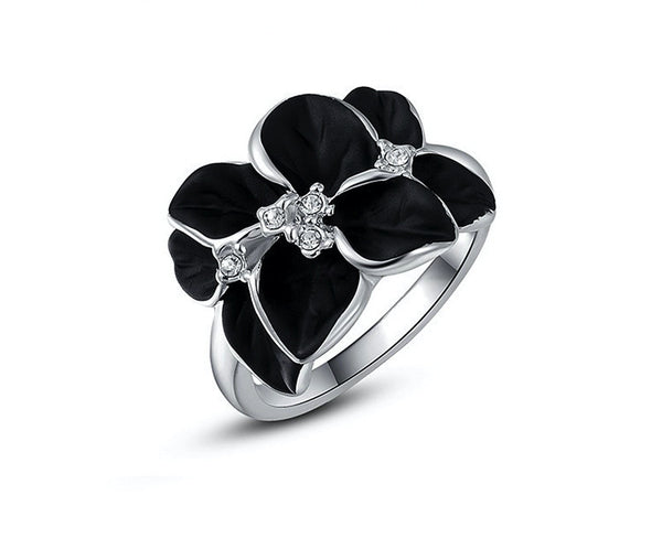 Platinum Plated Sarah Ring with Simulated Diamond