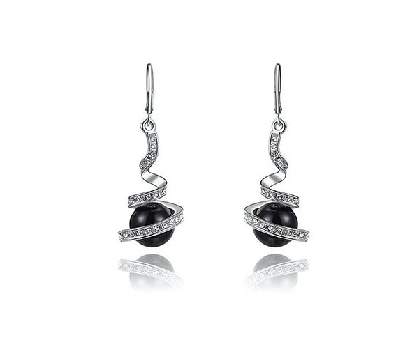 Platinum Plated Selah Earrings with Simulated Diamond