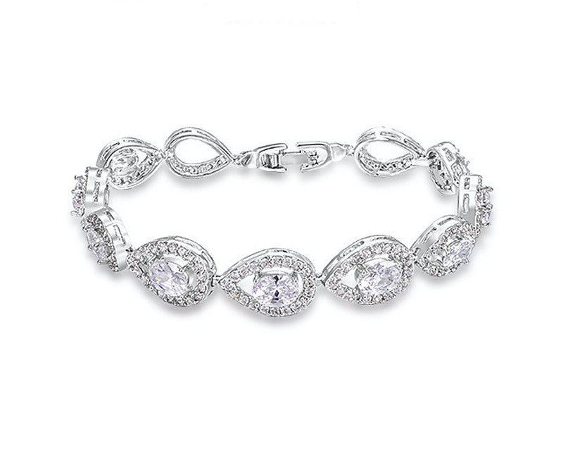 Platinum Plated Serenity Bracelet with Simulated Diamond