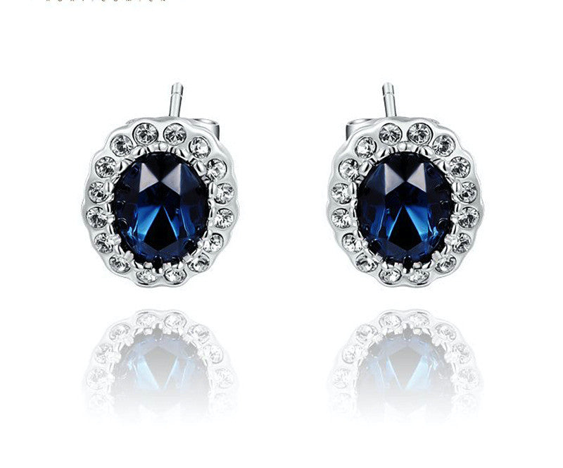 Platinum Plated Serenity Earrings with Simulated Diamond