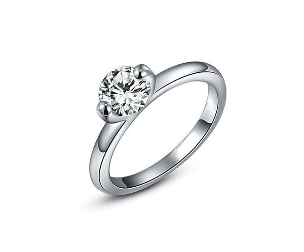 Platinum Plated Serenity Ring with Simulated Diamond