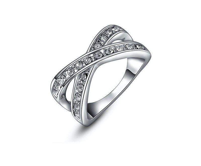 Platinum Plated Skylar Ring with Simulated Diamond