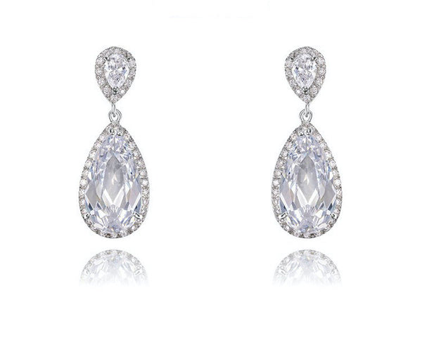 Platinum Plated Skyler Earrings with Simulated Diamond