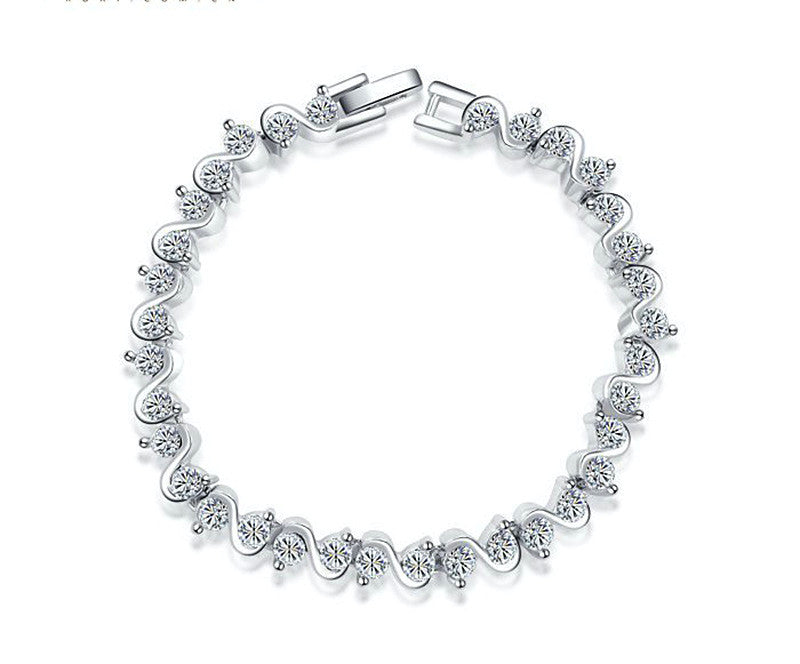 Platinum Plated Sofia Bracelet with Simulated Diamond