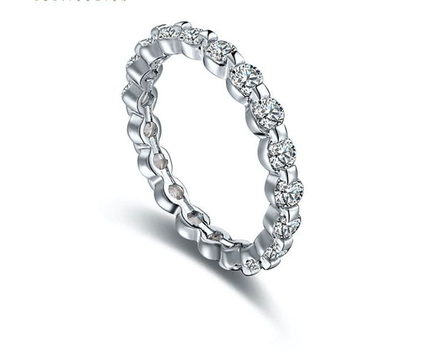Platinum Plated Sofia Ring with Simulated Diamond