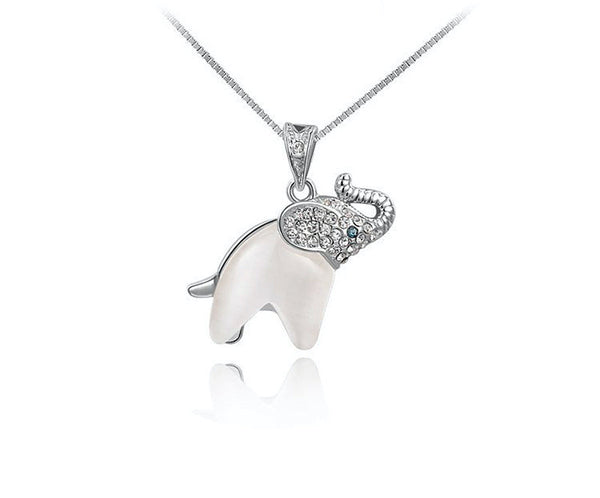 Platinum Plated Stella Necklace with Simulated Diamond
