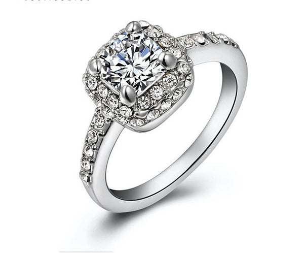 Platinum Plated Stella Ring with Simulated Diamond