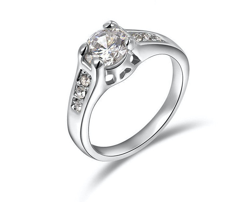 Platinum Plated Sydney Ring with Simulated Diamond