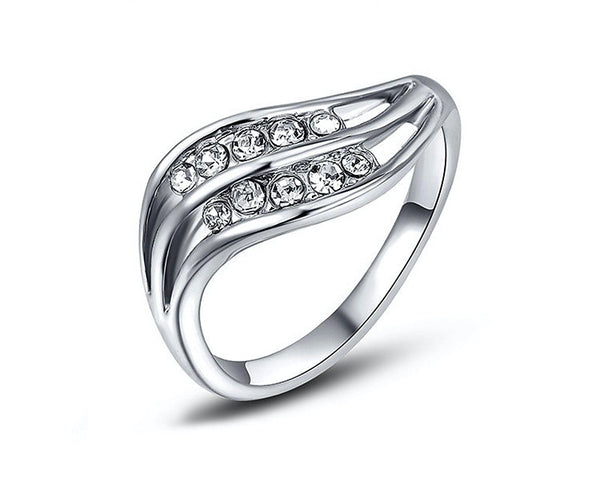 Platinum Plated Sylvia Ring with Simulated Diamond