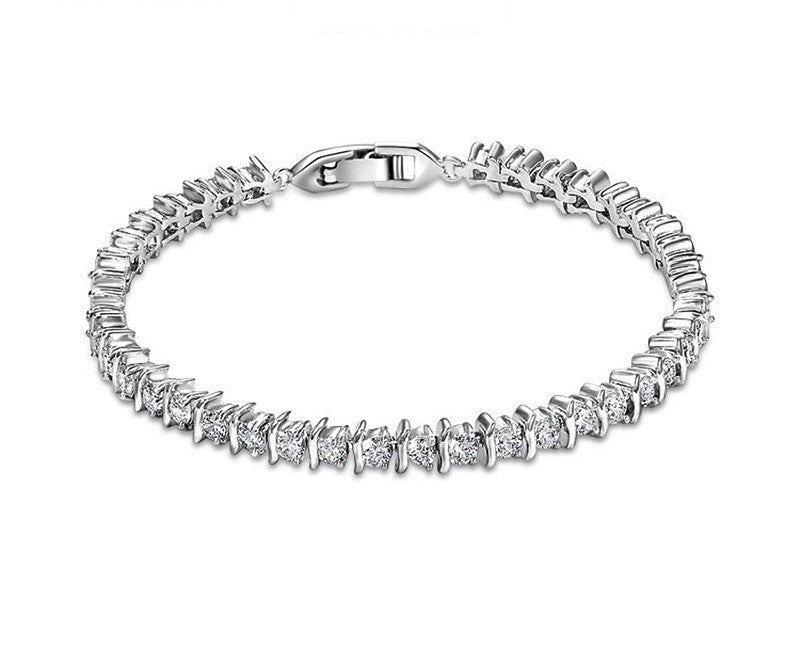 Platinum Plated Violet Bracelet with Simulated Diamond