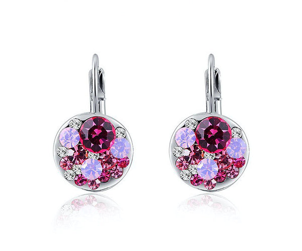 Platinum Plated Violet Earrings with Simulated Diamond