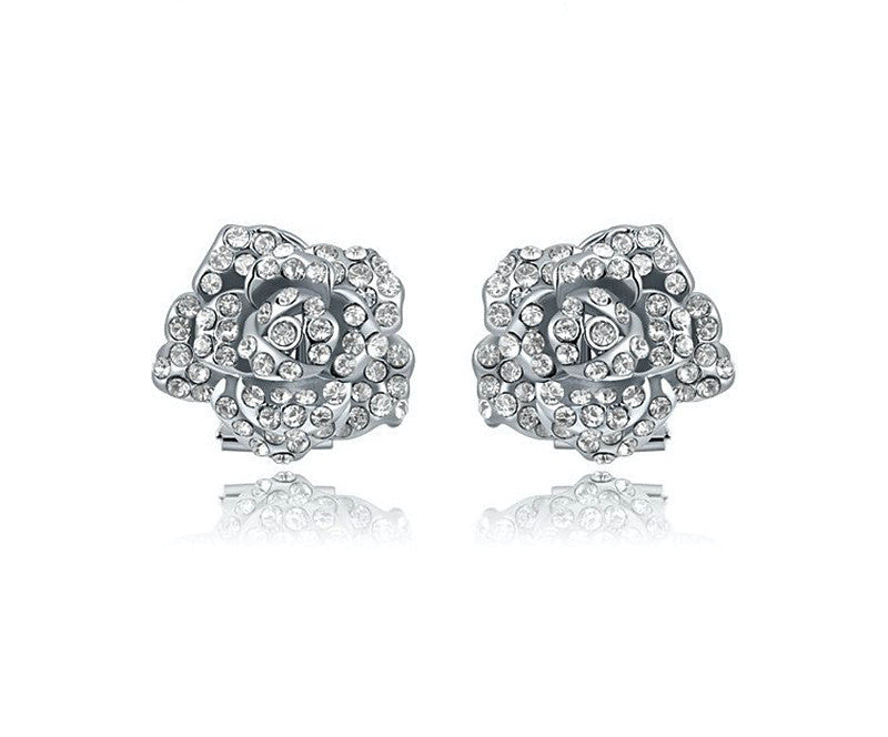Platinum Plated Virginia Earrings with Simulated Diamond