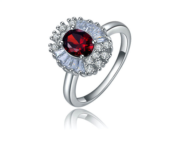 Platinum Plated Virginia Ring with Simulated Diamond