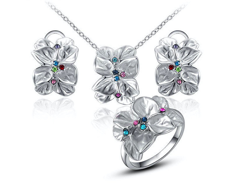 Platinum Plated Vivian Necklace, Earrings, Ring Set with Simulated Diamond