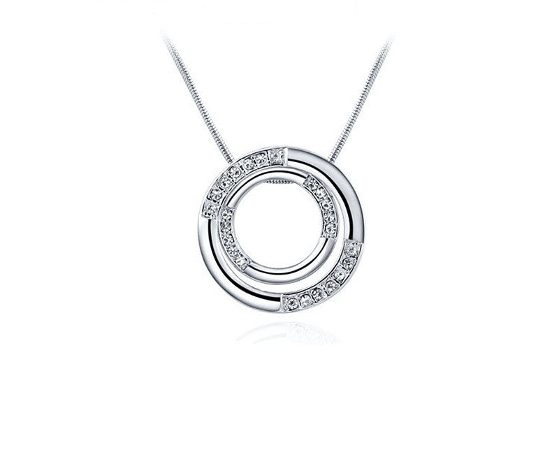 Platinum Plated Ximena Necklace with Simulated Diamond
