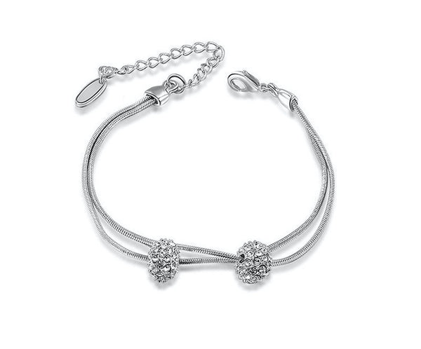 Platinum Plated Zoe Bracelet with Simulated Diamond