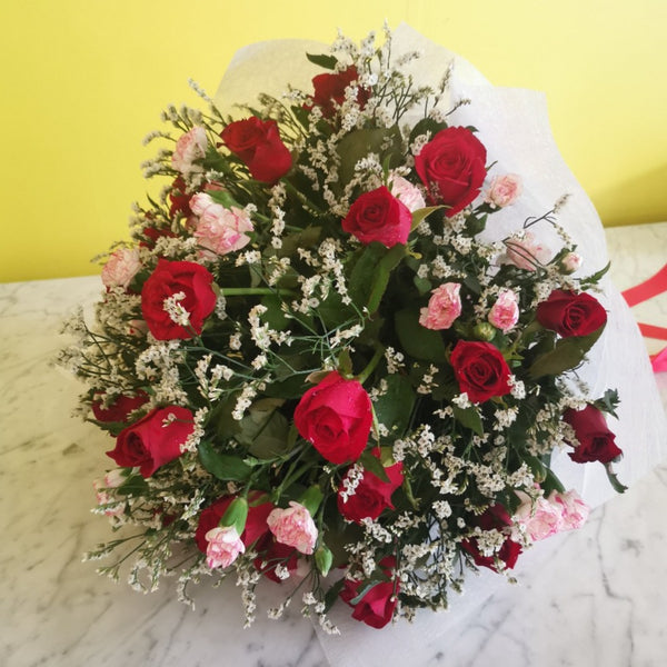 Red roses and carnation flower bouquet #6
