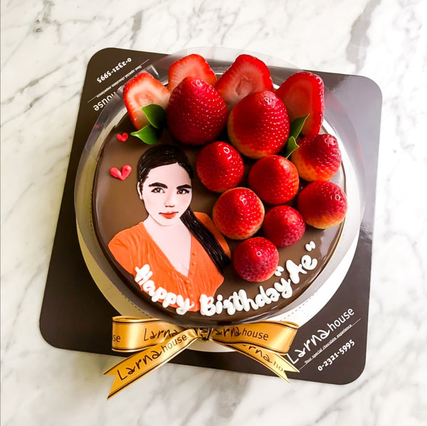 Strawberry Blossom with portrait drawing on larna cake