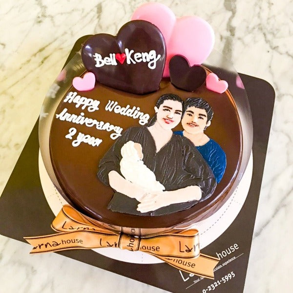 Love Shape Chocolate with portrait drawing on Larna cake (Big size)