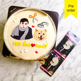 White Larna cake with portrait drawing (Big size)