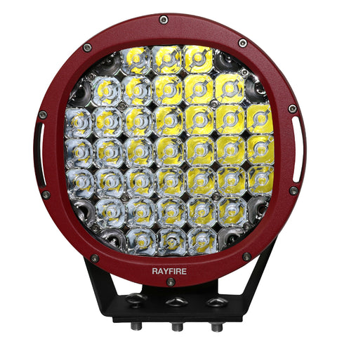 "RAYFIRE 9"" 185W 6000K Round LED Driving Light - Red Ring"