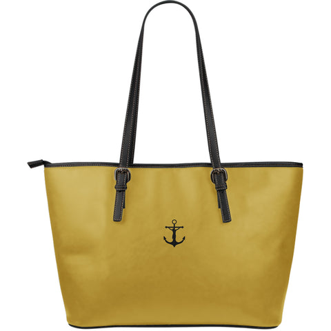 The Cross is My Anchor - Large Leather Tote Bag