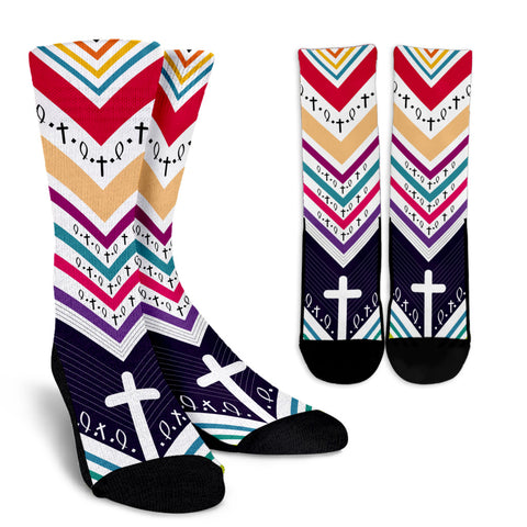 Women's Crew Socks - Cross Pattern