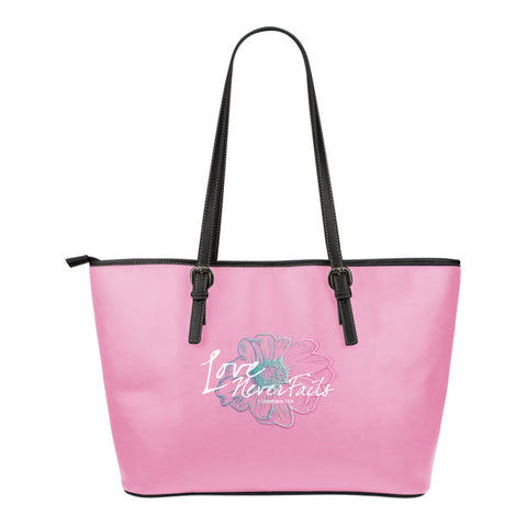 Love Never Fails Small Leather Tote Bag