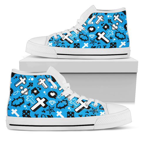 Women's High Top - Blue Cross Pattern
