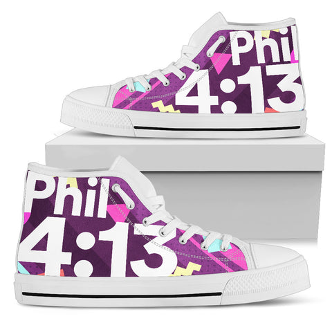 Women's High Top - Philippians 4:13 Memphis Purple