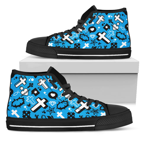Men's High Top - Blue Cross Pattern