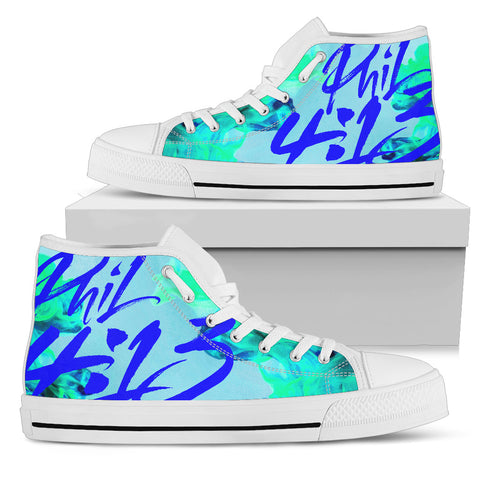 Women's High Top - Philippians 4:13 Cool Blue