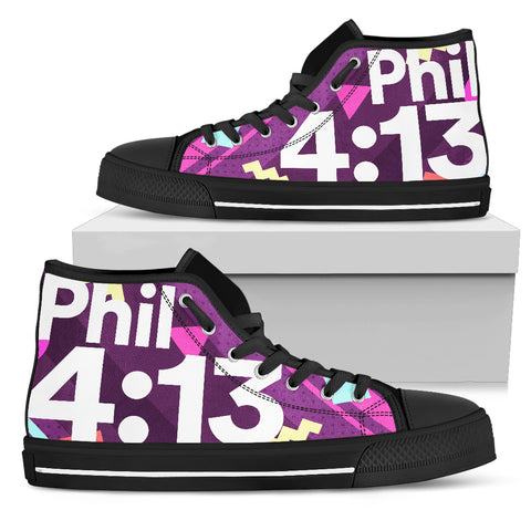 Men's High Top - Philippians 4:13 Memphis Purple