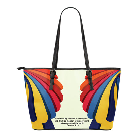 Rainbow Small Leather Tote Bag