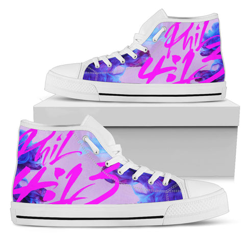 Women's High Top - Philippians 4:13 Hot Pink
