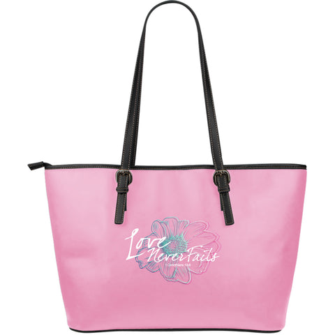 Love Never Fails Large Leather Tote Bag