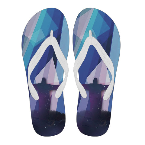 Jesus with Cross - Women's Flip Flops