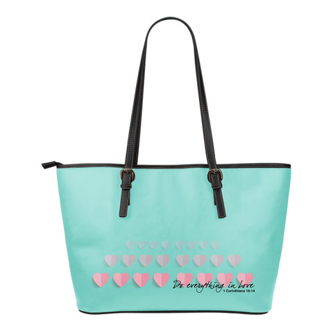 1 Corinthians 16:14 Small Leather Tote Bag