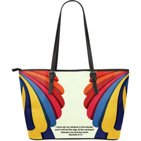 Rainbow Large Leather Tote Bag