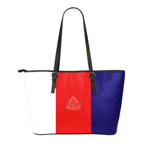 I Believe in Trinity  - Small Leather Tote Bag