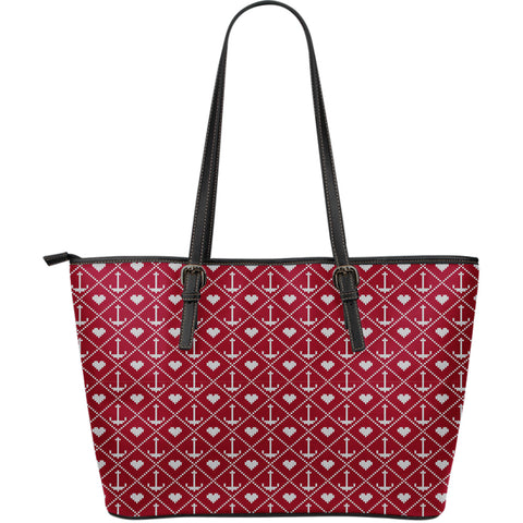 Anchored in Your Love - Large Leather Tote Bag